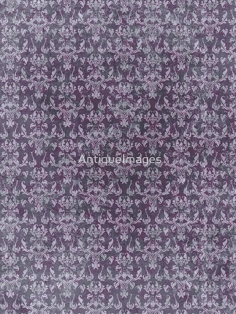 Vintage Purple Grunge Damask by AntiqueImages