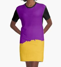 Purple and Yellow Paint Abstract Graphic T-Shirt Dress