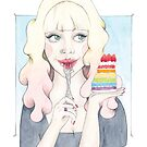 Dulsia Eating Rainbow Cake with Strawberries - Pink Ombre Hair by arosecast