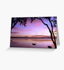 Purple Boat Gum Sunset Greeting Card