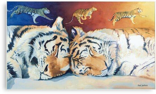 """Cat Nap"" Sleeping Tigers Watercolor  by Paul Jackson"