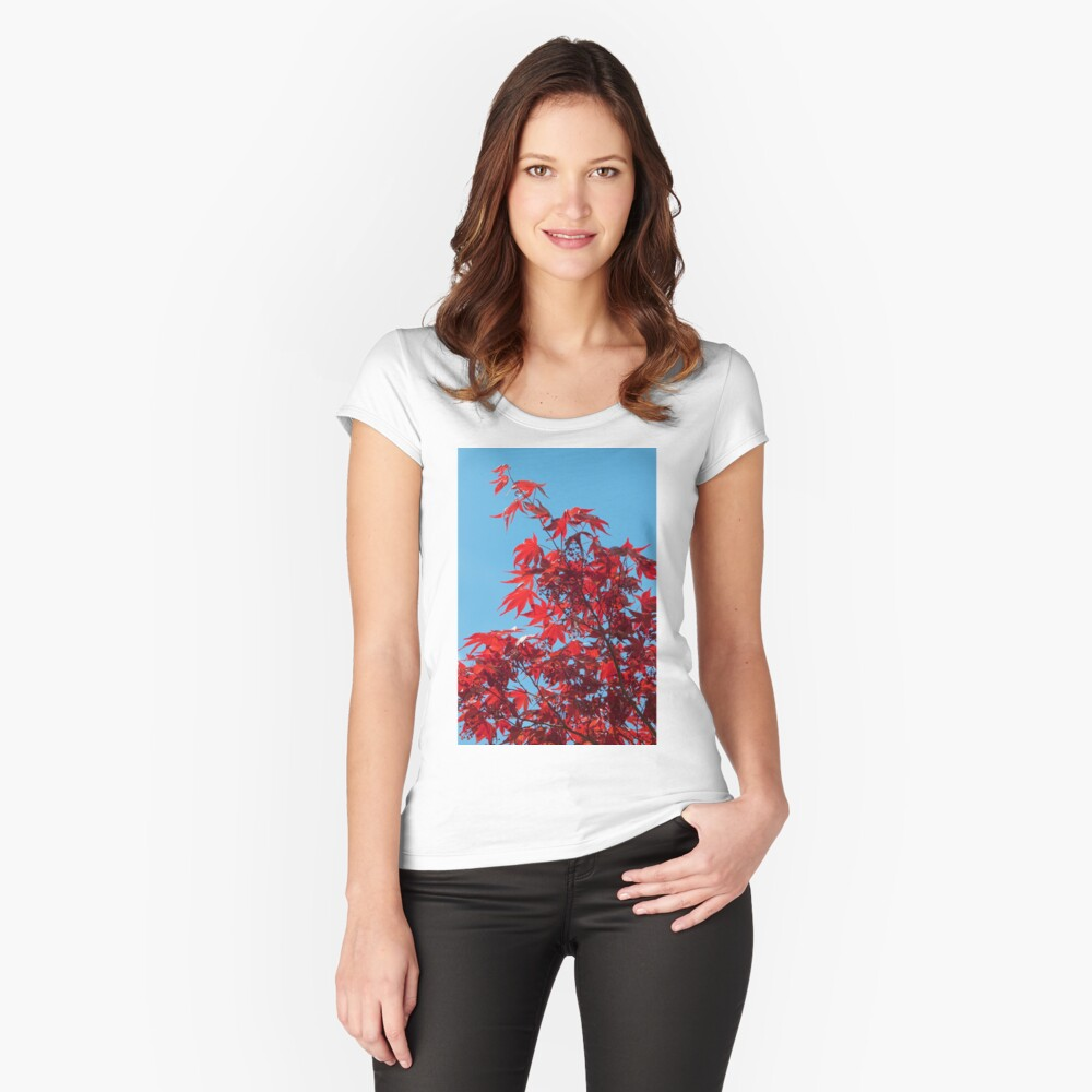 Japanese Maple (Acer) Leaves Fitted Scoop T-Shirt