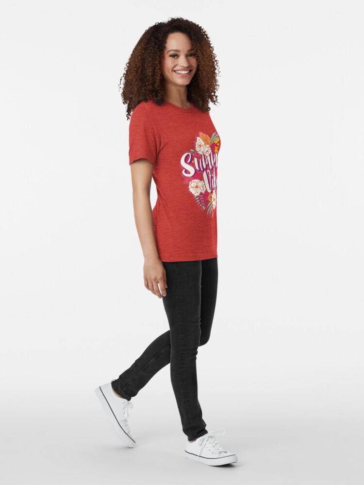 Alternate view of Summer vibes typography banner round design in tropical flower frame, vector illustration Tri-blend T-Shirt