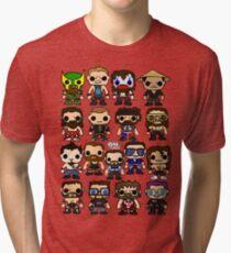 QWA Vinyl Pop-fighters Tri-blend T-Shirt