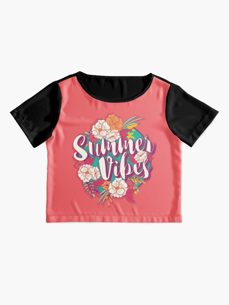 Alternate view of Summer vibes typography banner round design in tropical flower frame, vector illustration Chiffon Top