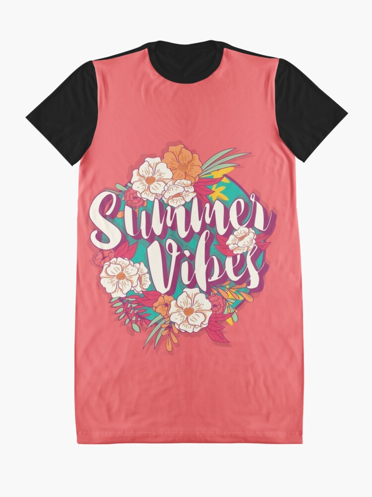 Alternate view of Summer vibes typography banner round design in tropical flower frame, vector illustration Graphic T-Shirt Dress