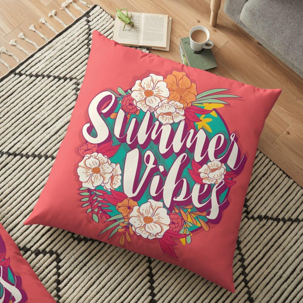 Summer vibes typography banner round design in tropical flower frame, vector illustration Floor Pillow