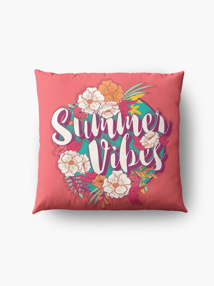 Alternate view of Summer vibes typography banner round design in tropical flower frame, vector illustration Floor Pillow