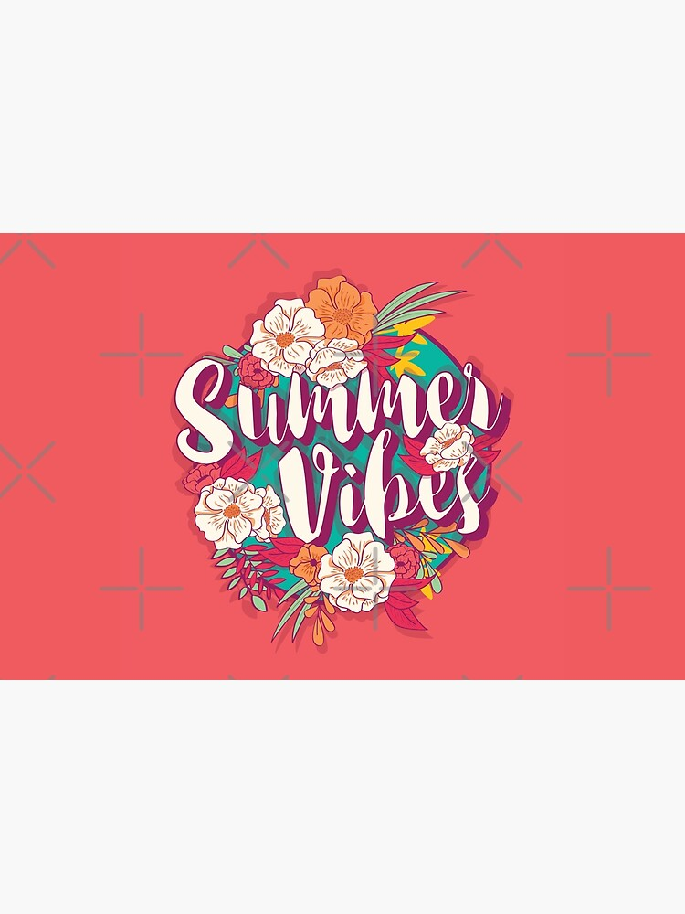 Summer vibes typography banner round design in tropical flower frame, vector illustration by BlueLela