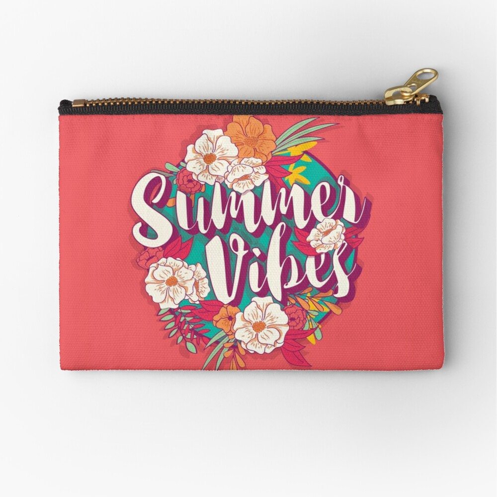 Summer vibes typography banner round design in tropical flower frame, vector illustration Zipper Pouch