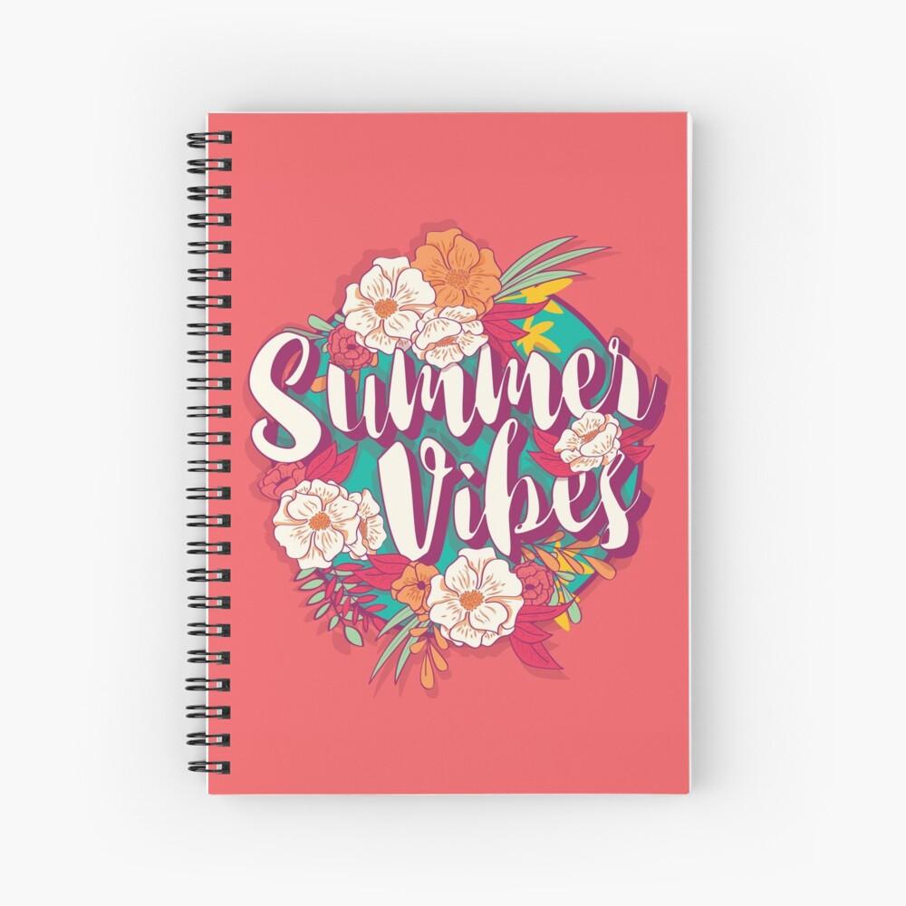 Summer vibes typography banner round design in tropical flower frame, vector illustration Spiral Notebook