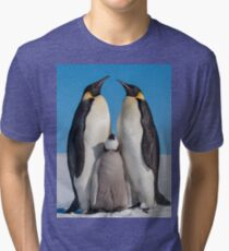 Emperor Penguins and Chick - Snow Hill Island Tri-blend T-Shirt