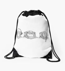 Hear Evil, See Evil, Speak Evil Drawstring Bag
