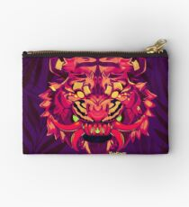 Tiger with Dragon Fangs - Red Zipper Pouch
