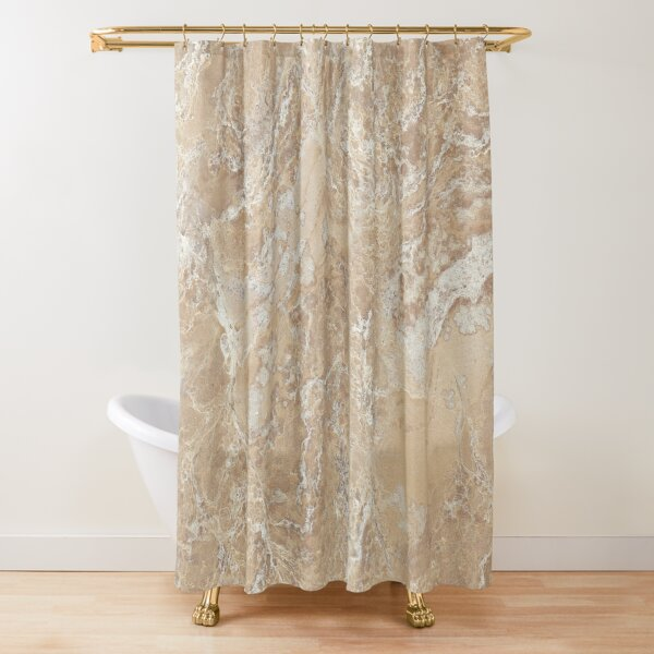 abstract contemporary cream beige sand stone granite marble Shower Curtain