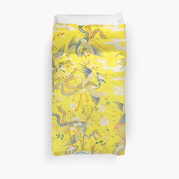 Cinco Fénix en el jardín, tapiz floral amarillo brillante chino imperial Funda nórdica