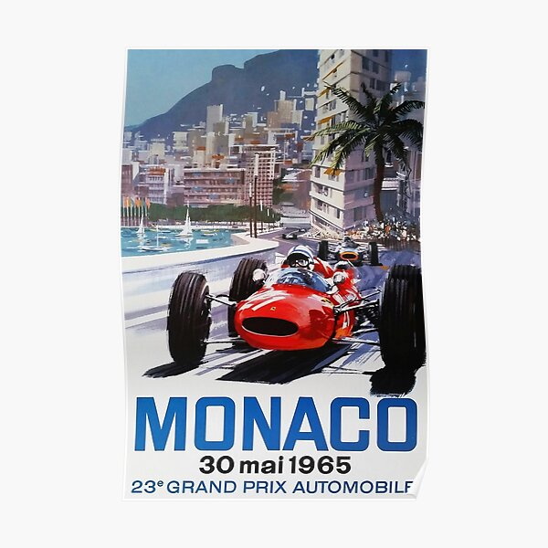 Gran Premio de Mónaco 1965, póster vintage, póster de coche, negro bg Póster