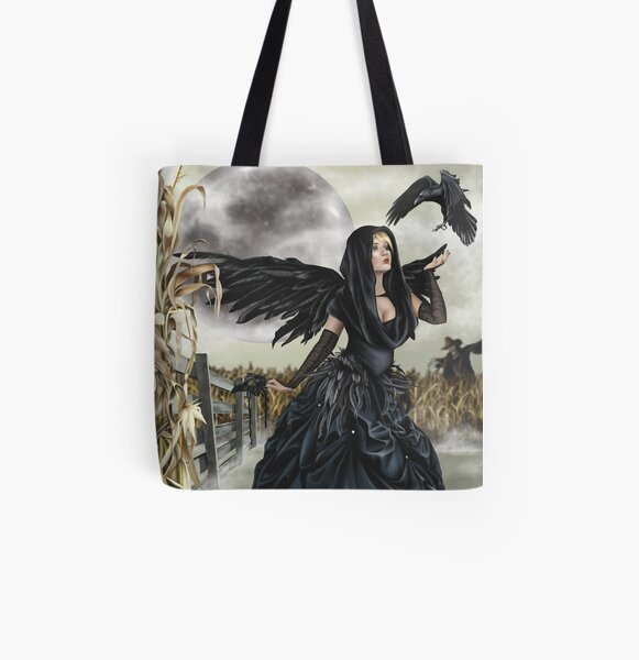 Raven Fairy Crow Witch Blackbird Corn Moon All Over Print Tote Bag