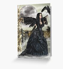 Raven Fairy Crow Witch Blackbird Corn Moon Greeting Card