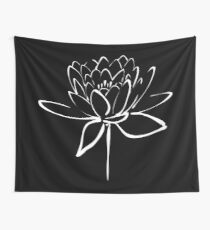 Lotus Flower Calligraphy (White) Wall Tapestry