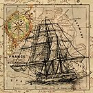vintage pirate ship sailor antique world map  by lfang77