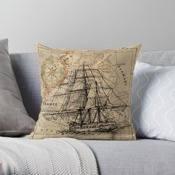 vintage pirate ship sailor antique world map  Throw Pillow