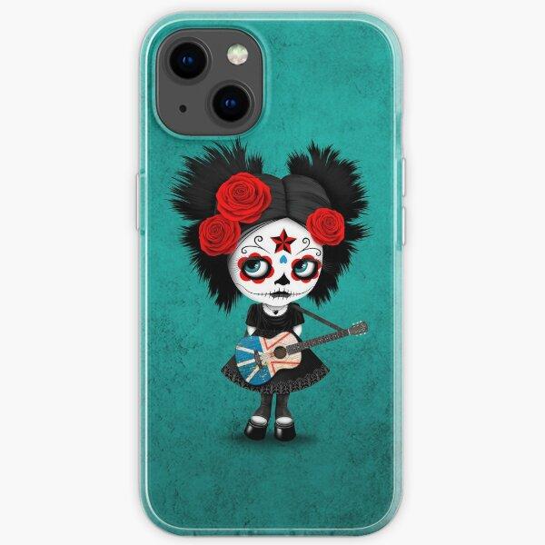 Sugar Skull Girl Playing Newfoundland Flag Guitar iPhone Soft Case
