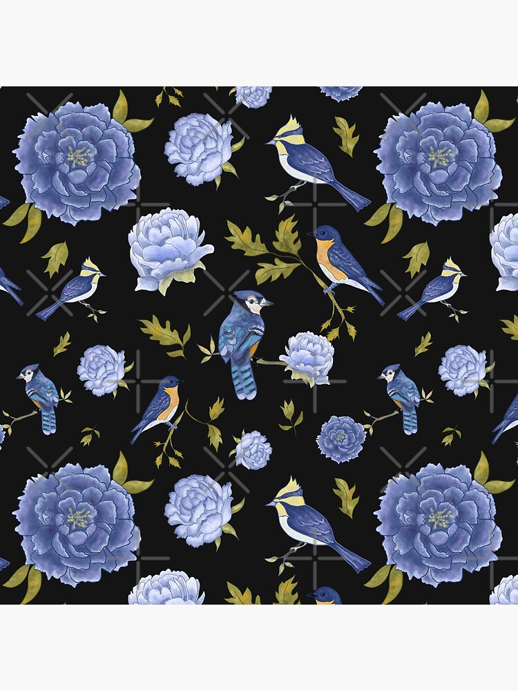 Peonies and blue birds on black backdrop by andreeadumez