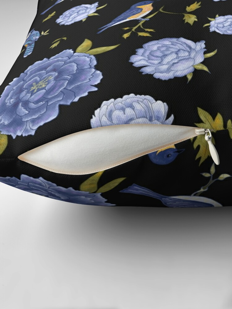 Alternate view of Peonies and blue birds on black backdrop Throw Pillow