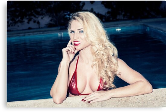 Blonde Babe Piper Poolside by Amyn Nasser