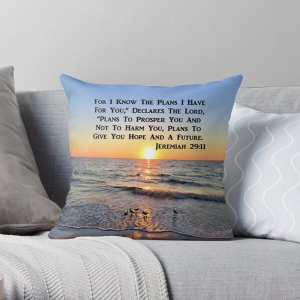 BEAUTIFUL JEREMIAH 29:11 SUNRISE ON THE OCEAN PHOTO Throw Pillow