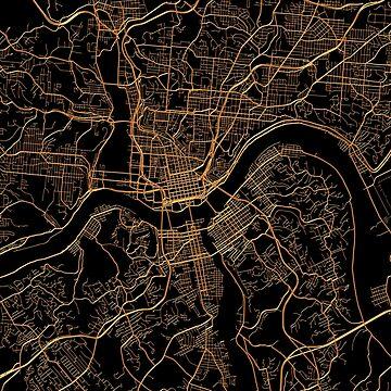 Cincinnati map, Ohio by AnnaGo