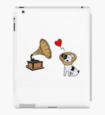 Cute Sick Puppy In Love With An Old Phonograph | Design For Men & Women iPad Case/Skin