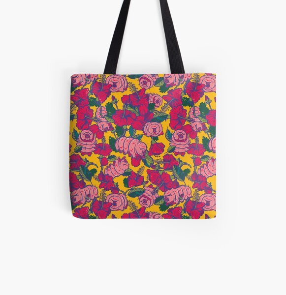 Water bears with Flowers All Over Print Tote Bag