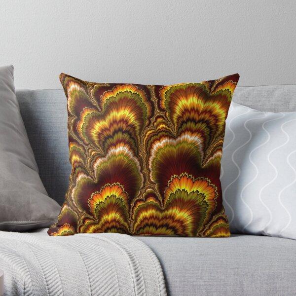 Turkey Feather Fractal Throw Pillow
