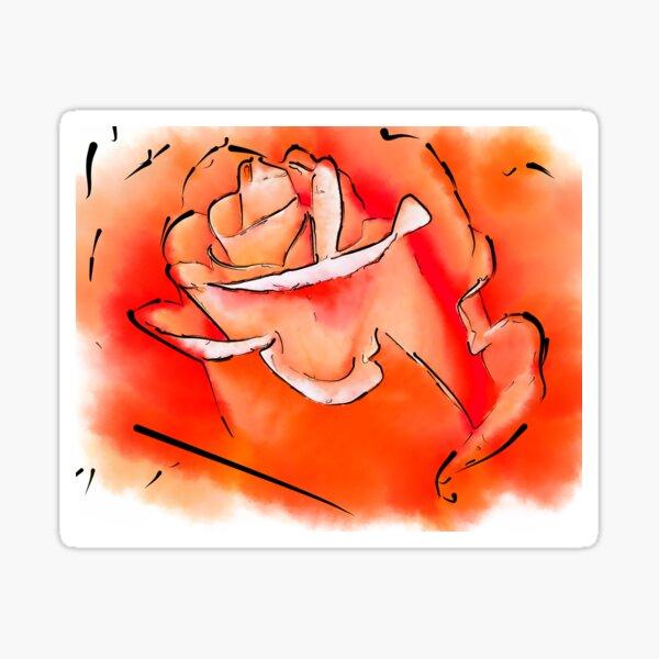 Orange Rosebud In Abstract Sticker