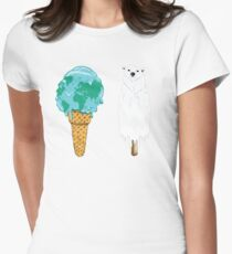 Global Warming Ice Cream Womens Fitted T-Shirt