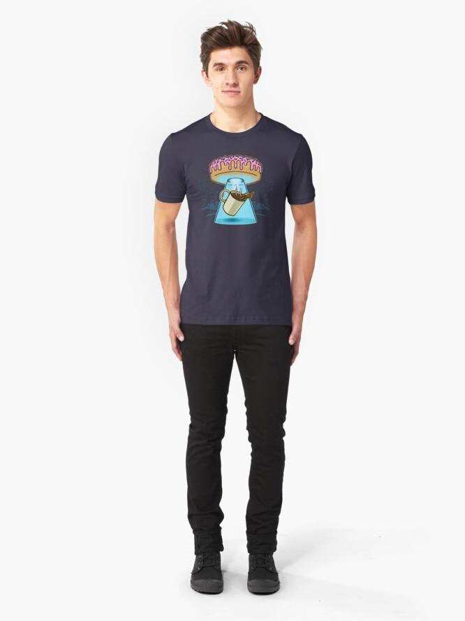 Alternate view of Donut Spaceship Coffee Slim Fit T-Shirt