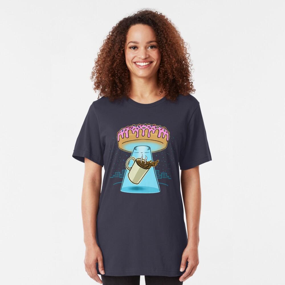 Donut Spaceship Coffee Slim Fit T-Shirt