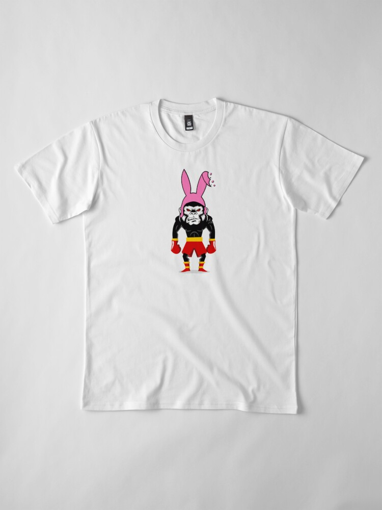 Alternate view of Lucky Punch Monkey Bunny Red Corner Premium T-Shirt