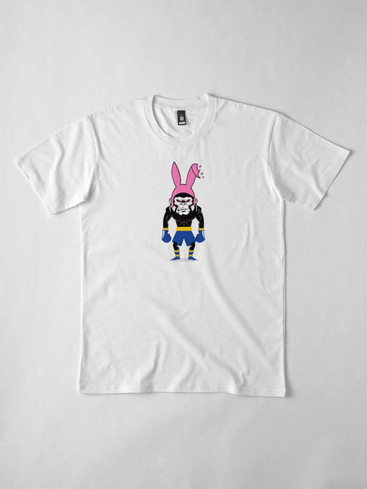 Alternate view of Lucky Punch Monkey Bunny Blue Corner Premium T-Shirt