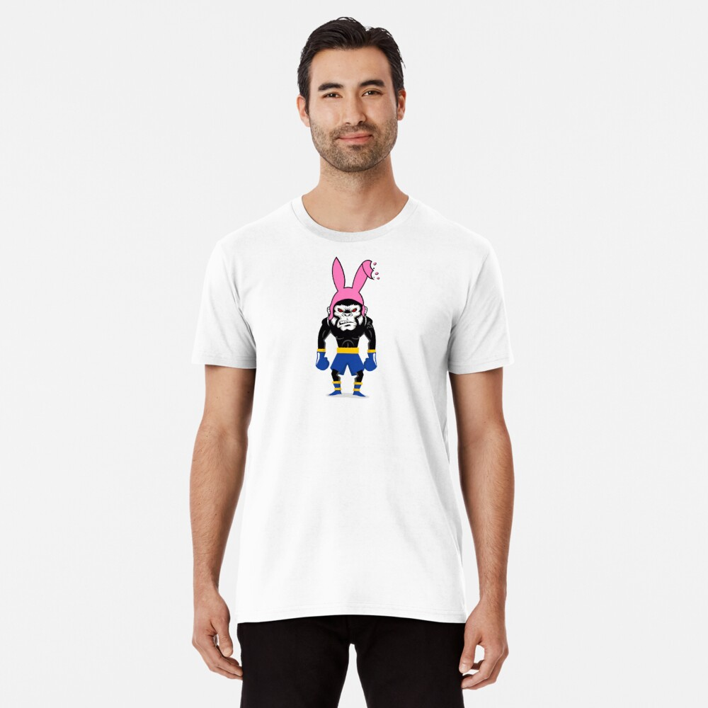 Lucky Punch Monkey Bunny Blue Corner Premium T-Shirt