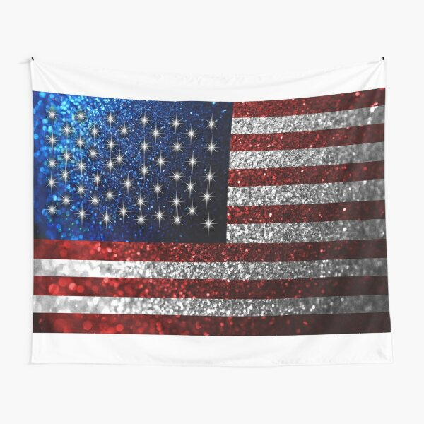 American Flag in Glitter Graphic Tapestry