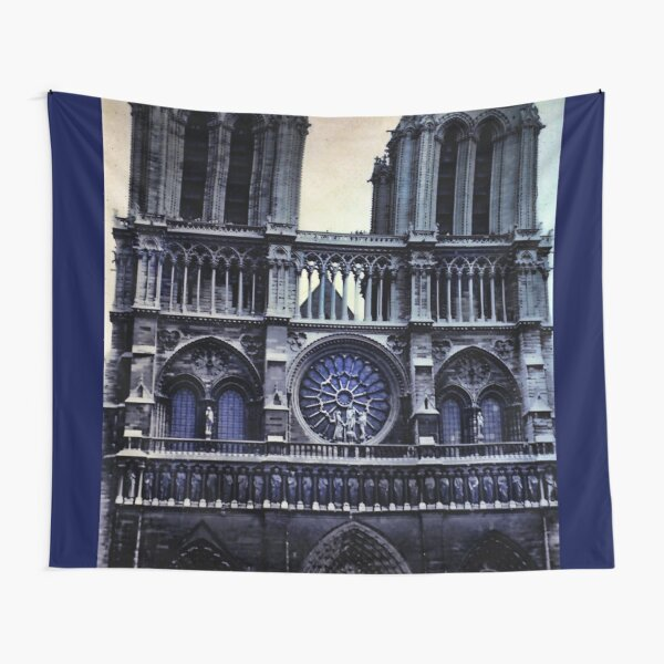 Vintage Notre Dame Cathedral Dark Tapestry