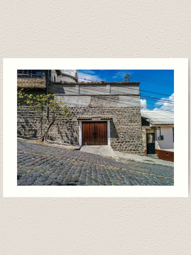 Alternate view of Steep cobblestone street with block house garage, Quito, Ecuador Art Print