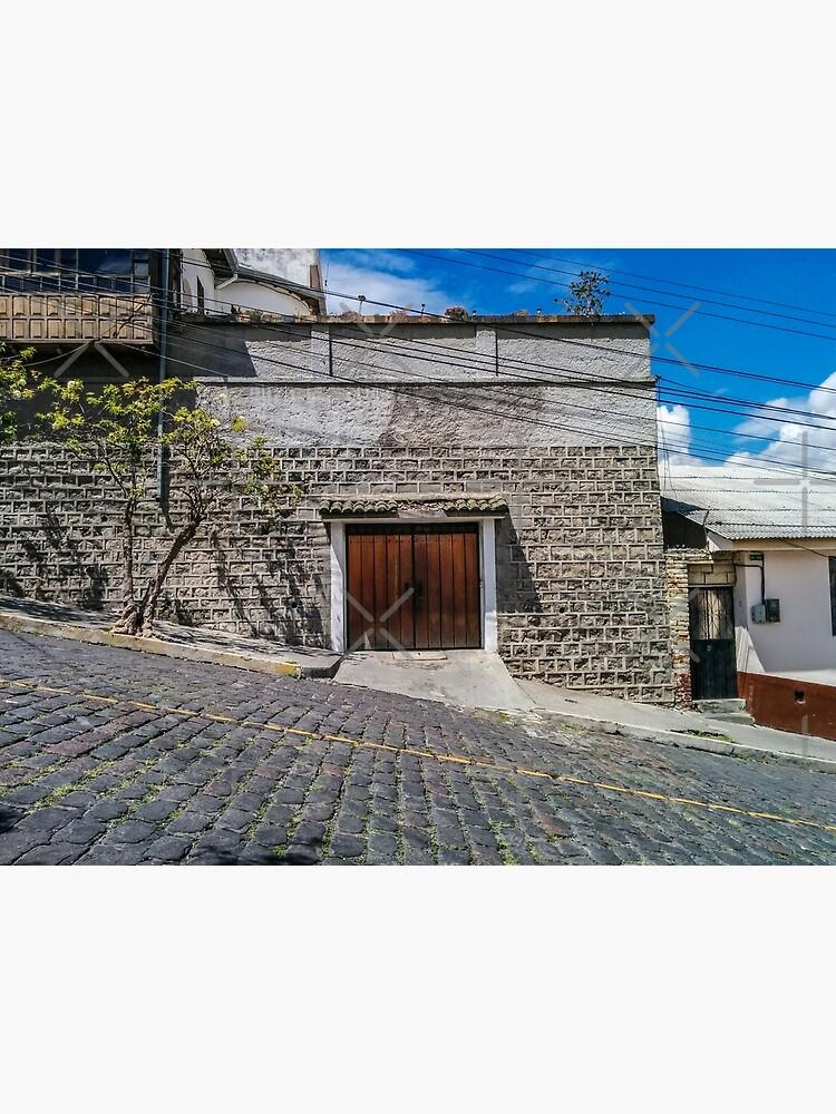 Steep cobblestone street with block house garage, Quito, Ecuador by kpander