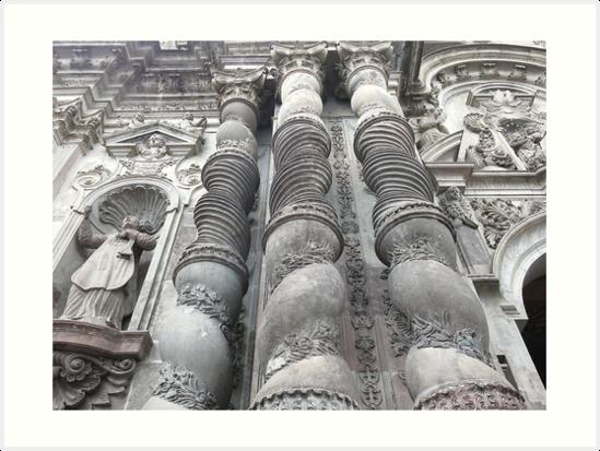 Ornate carved exterior baroque church columns, Quito, Ecuador by Kendall Anderson