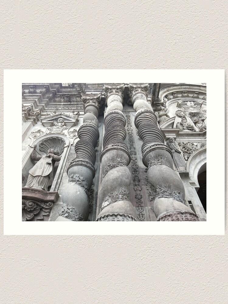 Alternate view of Ornate carved exterior baroque church columns, Quito, Ecuador Art Print