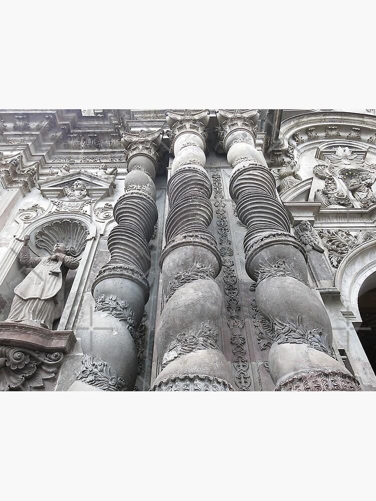Ornate carved exterior baroque church columns, Quito, Ecuador by kpander