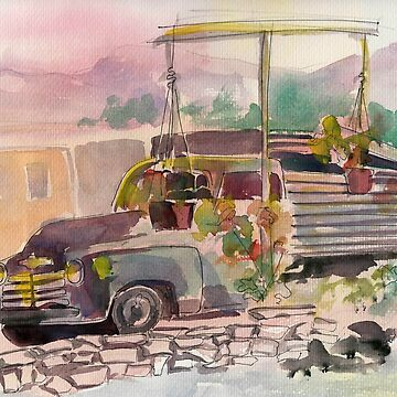 Old pick up truck at sunset watercolor by Naquaiya